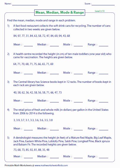 Mean Mode Median Worksheets Lovely Mean Median and Mode Worksheets Worksheets Samples