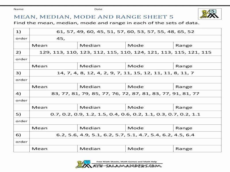 Mean Mode Median Worksheets Luxury Mean Median Mode Worksheet