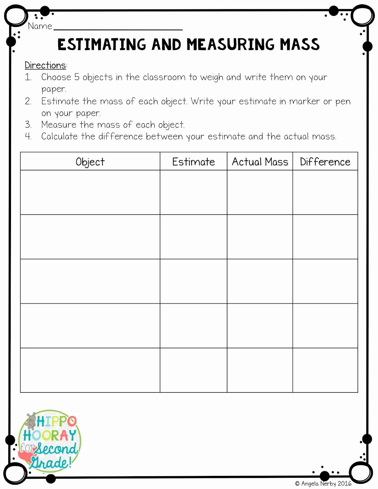 Measurement Estimation Worksheets Awesome Iteach Third Mass Made Easy Strategies for Teaching