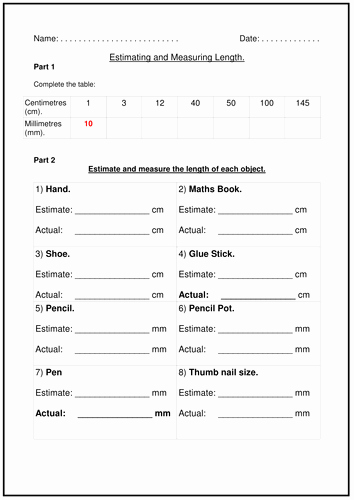 Measurement Estimation Worksheets Unique Estimating and Measuring Length by Cybertism Teaching