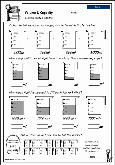 Measurement Volume Worksheets Luxury Reading A Measuring Scale to 1000ml Studyladder