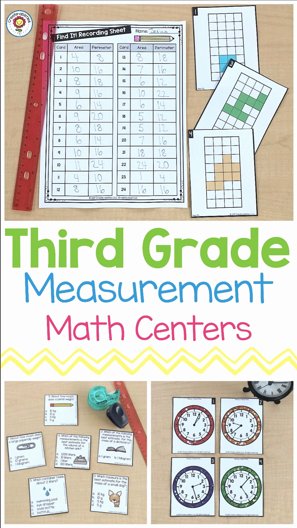 Measurement Worksheets 3rd Grade Beautiful 3rd Grade Measurement Math Centers with Images