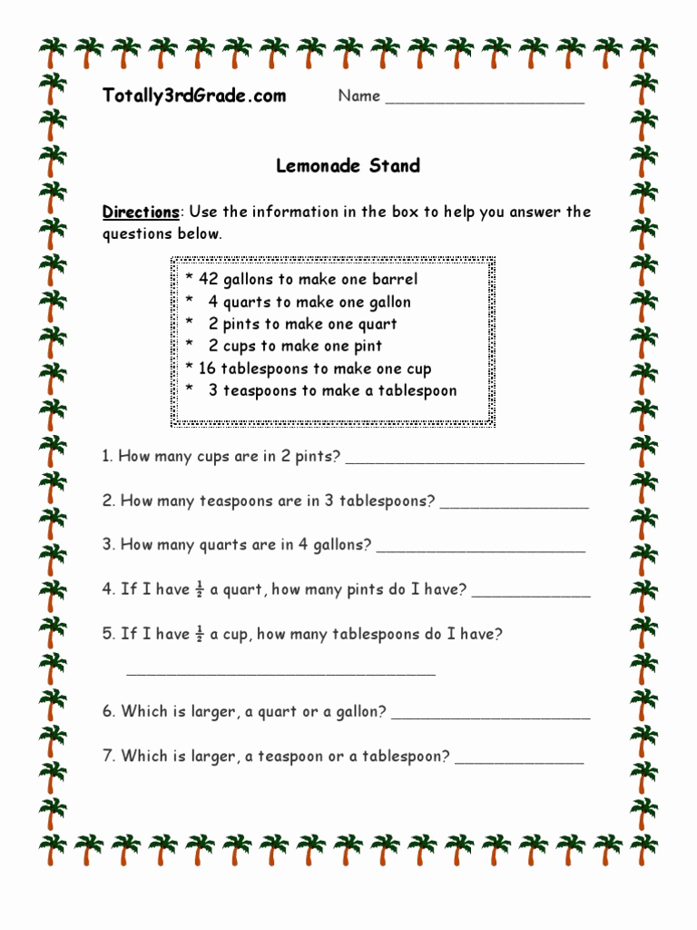 Measurement Worksheets for 3rd Grade Awesome 3rd Grade