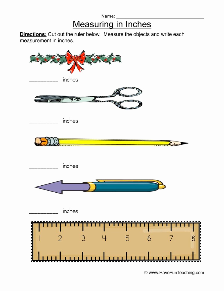 Measuring In Inches Worksheets Awesome Measuring Inches Worksheet • Have Fun Teaching