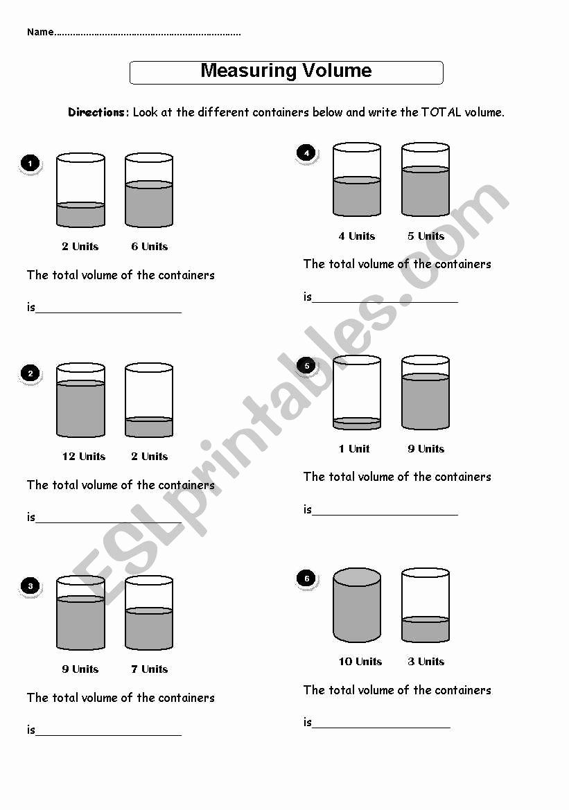 Measuring Volume Worksheets Elegant Measuring Volume Esl Worksheet by Djad