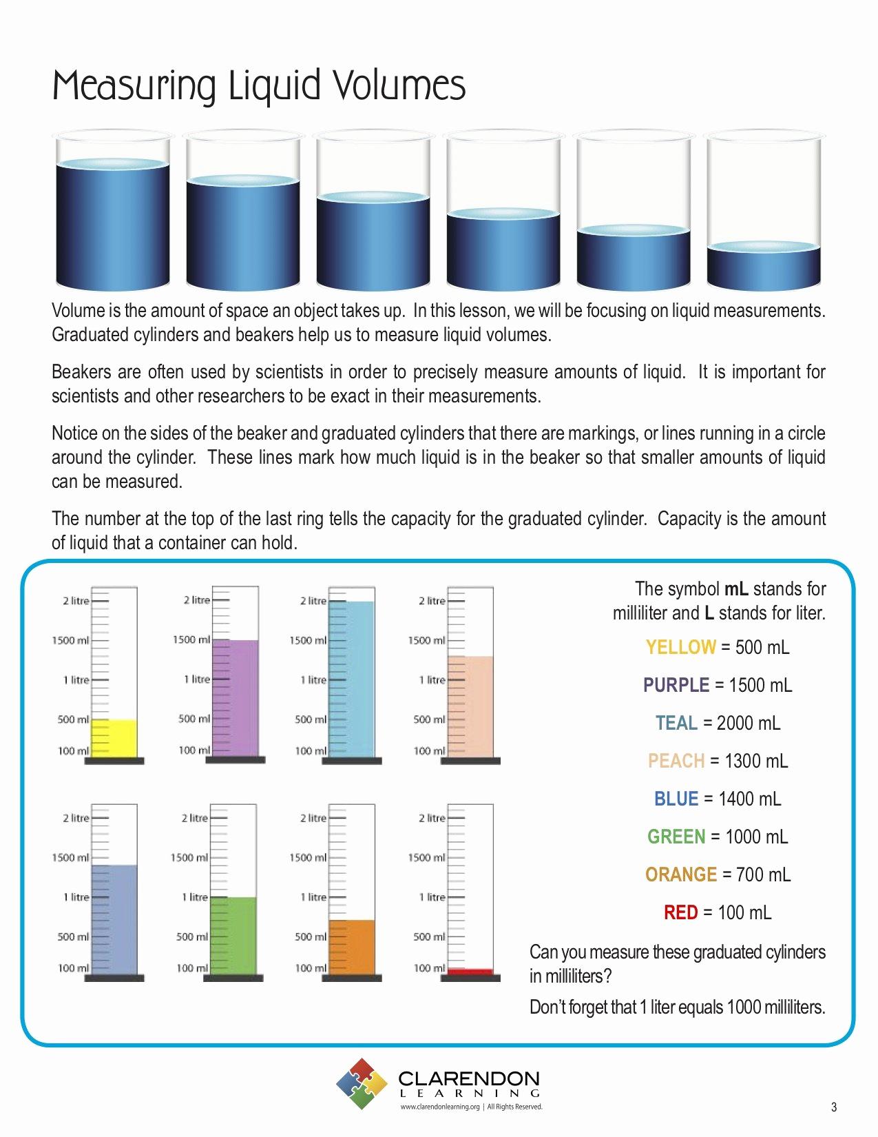 Measuring Volume Worksheets Unique Measuring Liquid Volume Lesson Plan