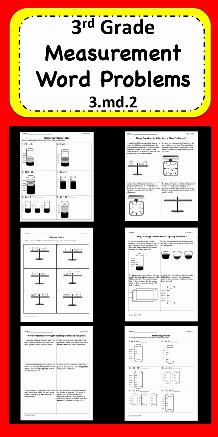 Measuring Worksheets for 3rd Grade Luxury Measurement Word Problems for 3rd Grade Focusing On 3