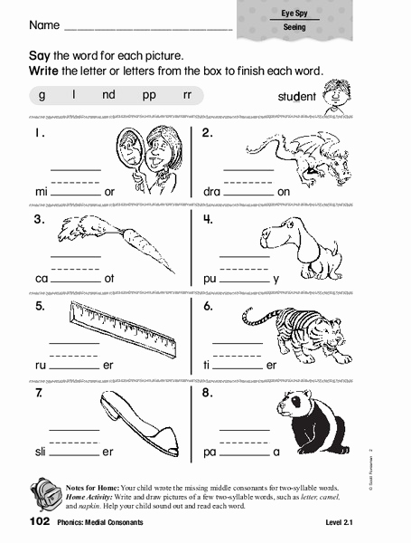 Medial sounds Worksheets First Grade Awesome Phonics Medial Consonants Worksheet for 1st 2nd Grade