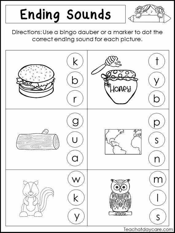Medial sounds Worksheets First Grade Beautiful 10 Printable Ending sounds Worksheets Preschool 1st Grade