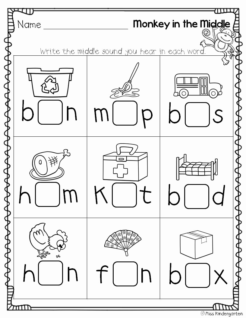 Medial sounds Worksheets First Grade Best Of Super Cvc Practice