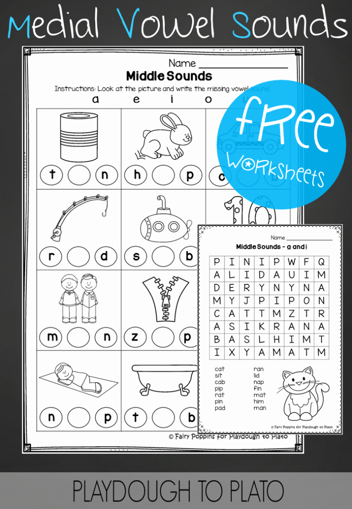 Medial sounds Worksheets First Grade Elegant Middle sounds Worksheets Playdough to Plato