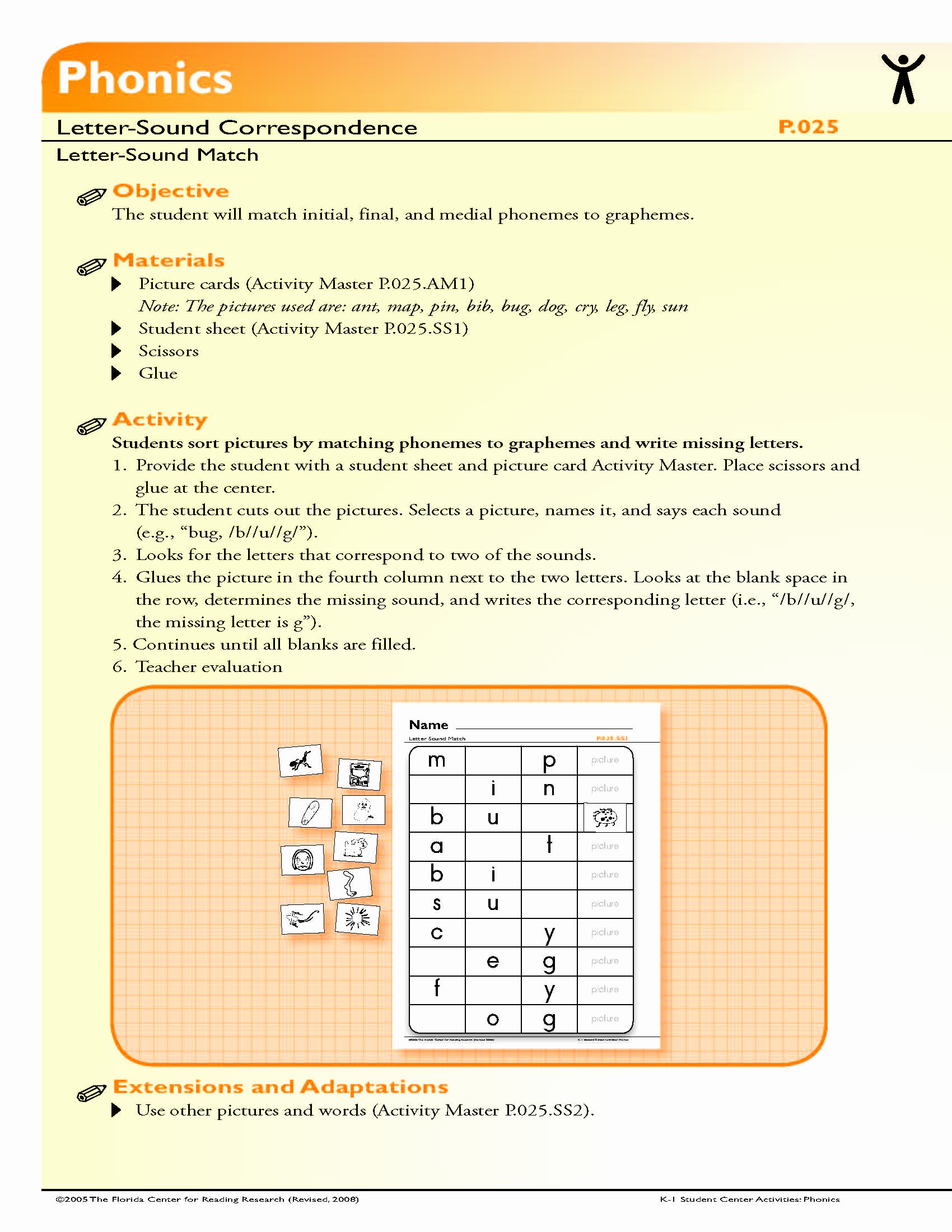Medial sounds Worksheets First Grade Luxury the Student Will Match Initial Final and Medial Phonemes