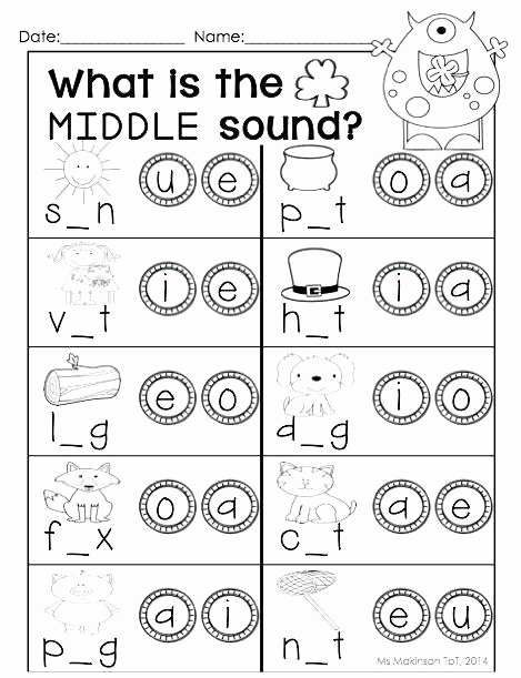 Medial sounds Worksheets First Grade New Middle sounds Worksheets for Kindergarten Medial sound