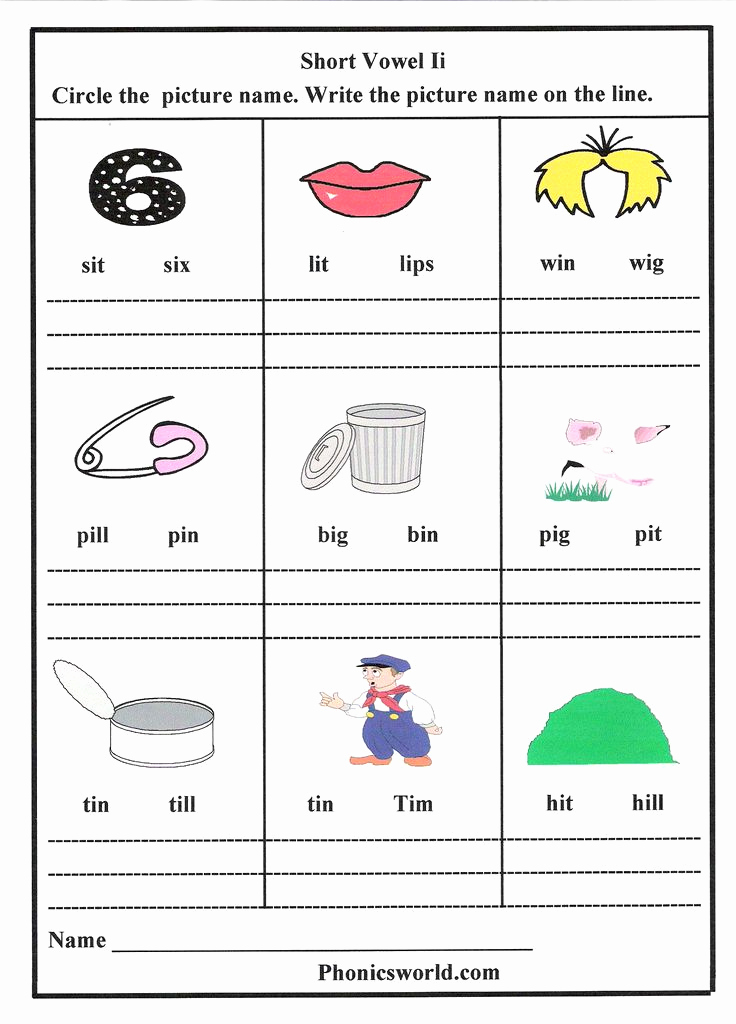 Medial sounds Worksheets First Grade Unique Short I sound Worksheet