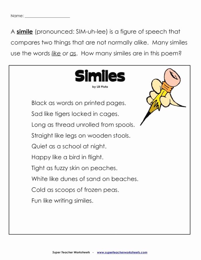 Metaphor Worksheet Middle School Beautiful Simile and Metaphor Worksheets for Middle School – Super