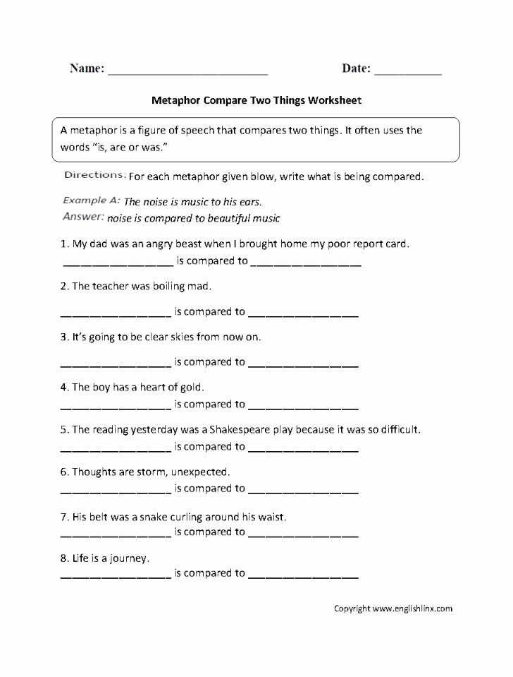 Metaphor Worksheet Middle School Best Of Metaphor Worksheet Middle School Worksheet Ideas