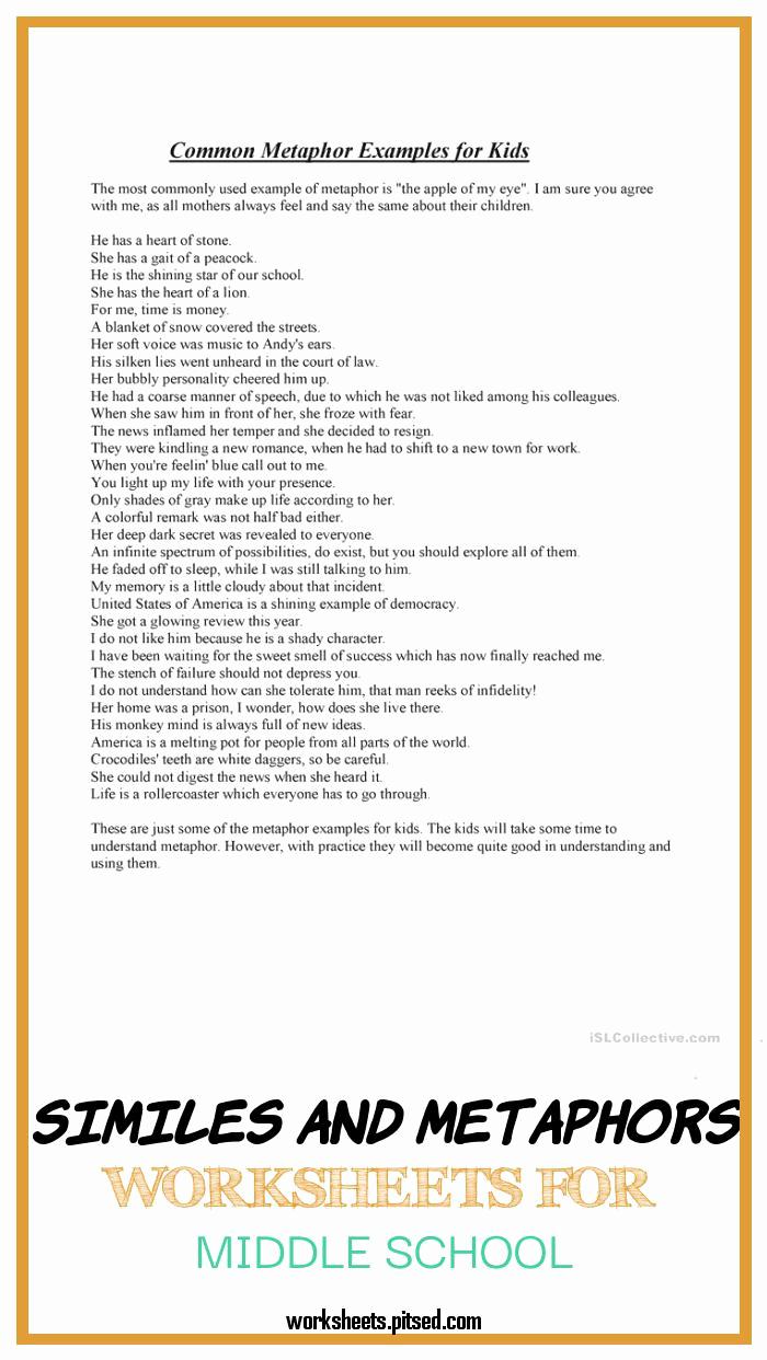 Metaphor Worksheet Middle School Best Of Similes and Metaphors Worksheets for Middle School – Super