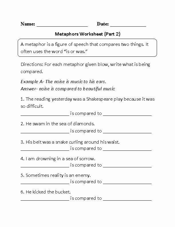 Metaphor Worksheet Middle School Fresh 20 Best Of Simile Metaphor Worksheets Middle School