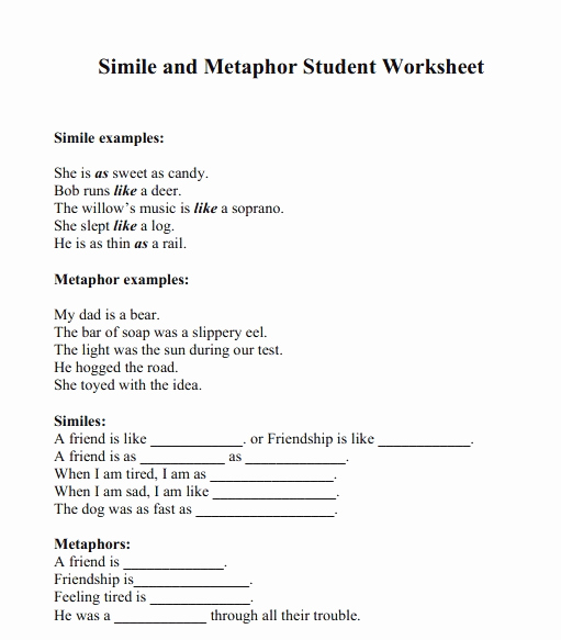 Metaphor Worksheet Middle School Inspirational Simile and Metaphor Worksheets for Middle School – Super
