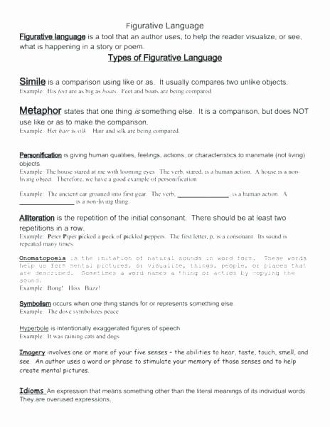 Metaphor Worksheet Middle School Lovely Personification Worksheets for Middle School Simile