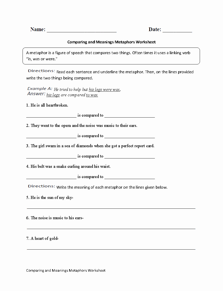 Metaphor Worksheet Middle School New 19 Best Of Metaphor Worksheet High School Simile