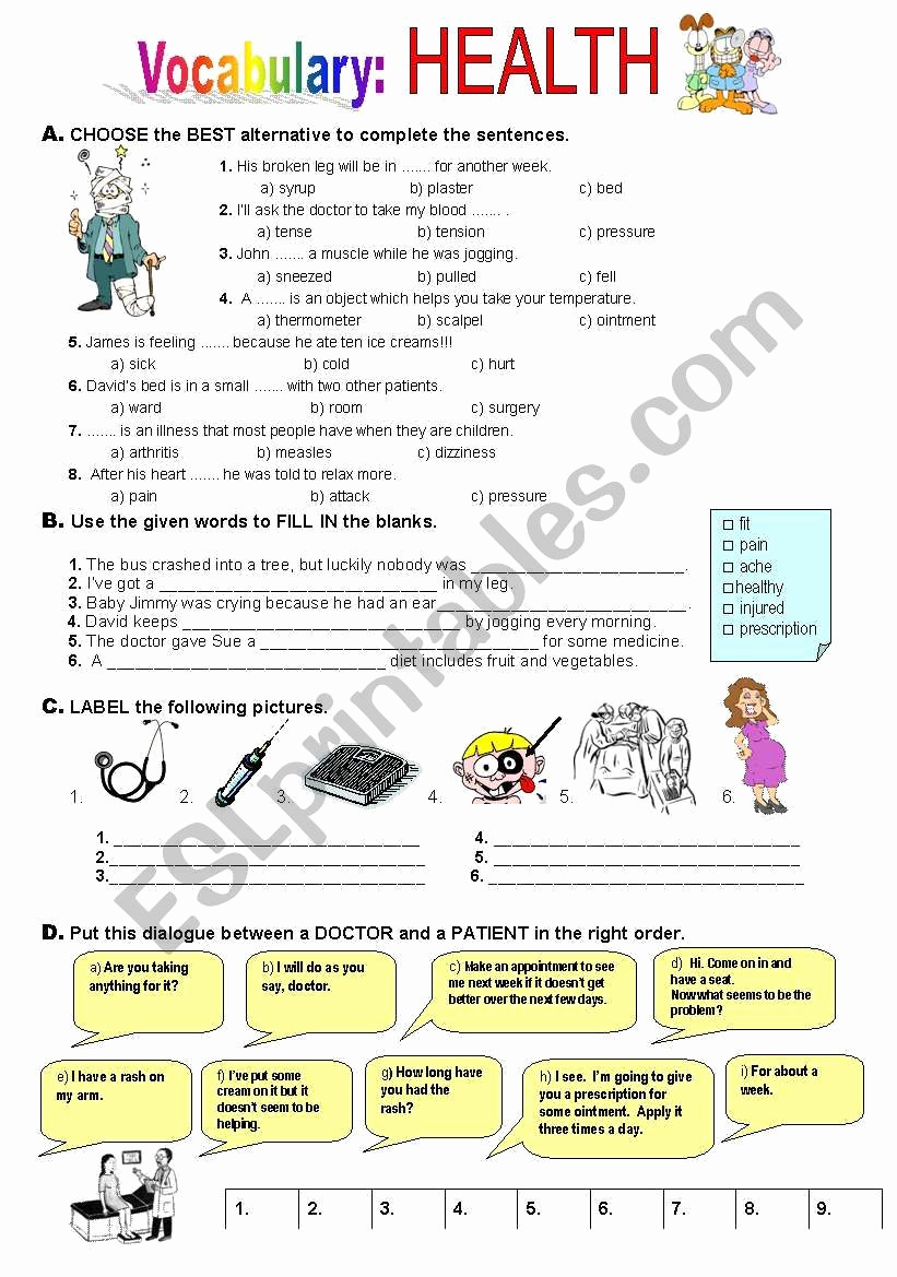 Middle School Health Worksheets Pdf Beautiful Salud Hoja De Trabajo De Esl Por atlantis1971 In 2020