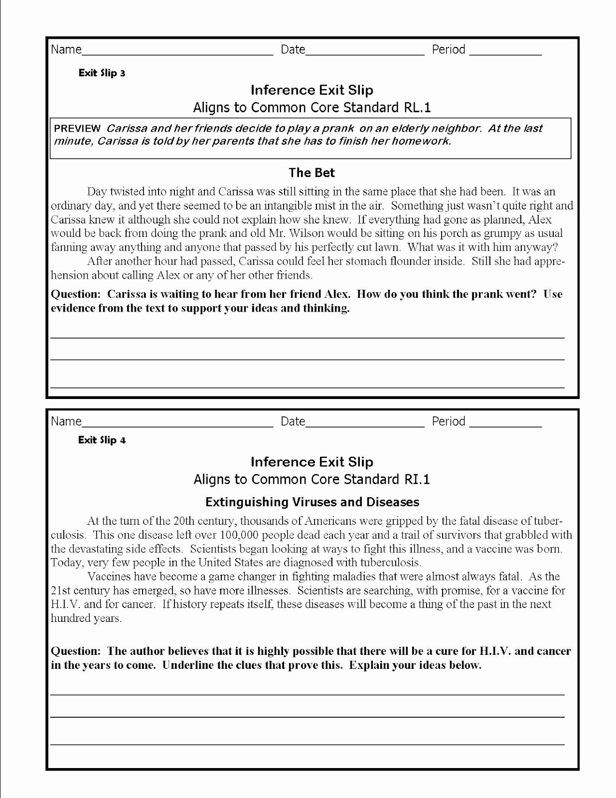 Middle School Inference Worksheets Lovely thelessoncloud