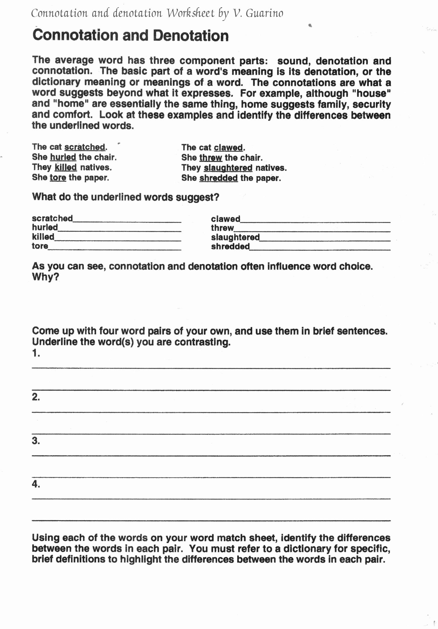 Middle School Life Skills Worksheets Awesome Connotation and Denotation Worksheets for Middle School