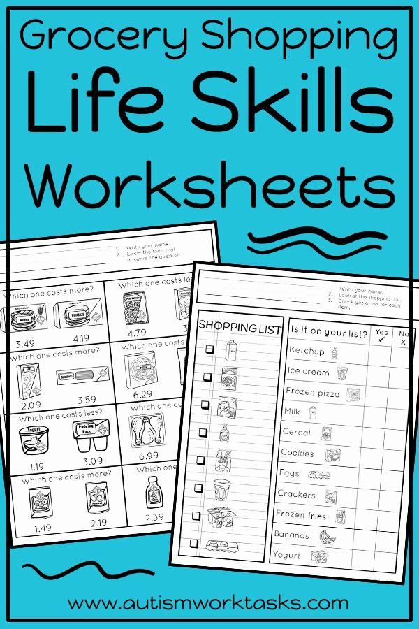 Middle School Life Skills Worksheets Inspirational Life Skills Worksheets Grocery Store