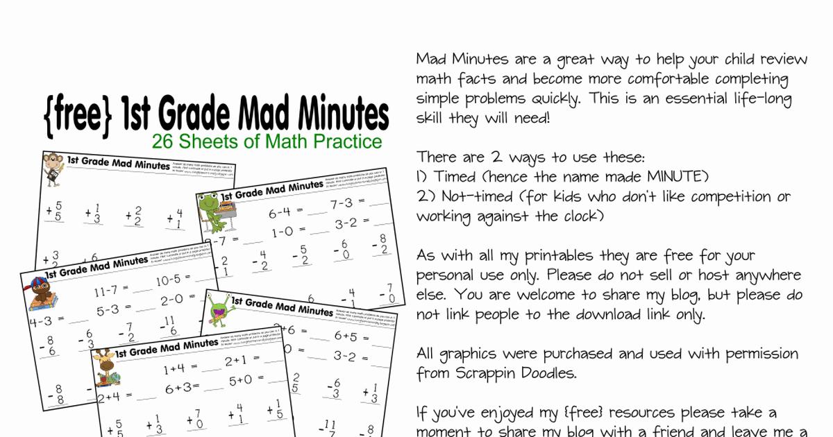 Minute Math Worksheets 1st Grade Beautiful Mad Minute 1st Grade Pdf