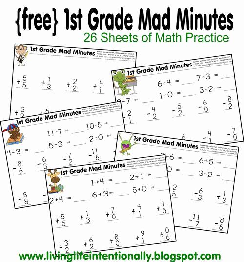 Minute Math Worksheets 1st Grade Lovely New 938 First Grade Math Minute Worksheets