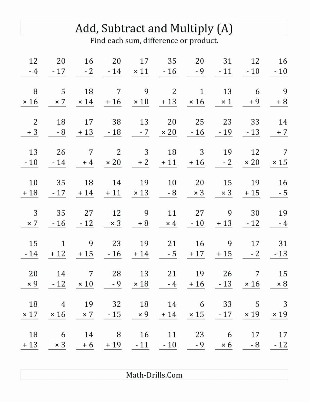 Minute Math Worksheets 1st Grade New Multiplication Mad Minute