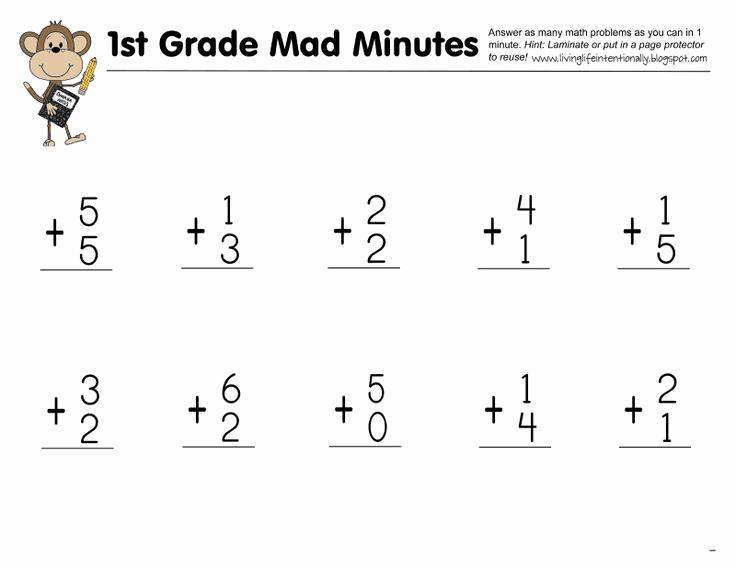 Minute Math Worksheets 1st Grade Unique Mad Minute 1st Grade Pdf