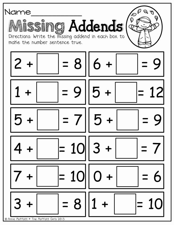 Missing Addend Worksheets Kindergarten Lovely 16 Best Of Missing Addend and Subtrahend Worksheets