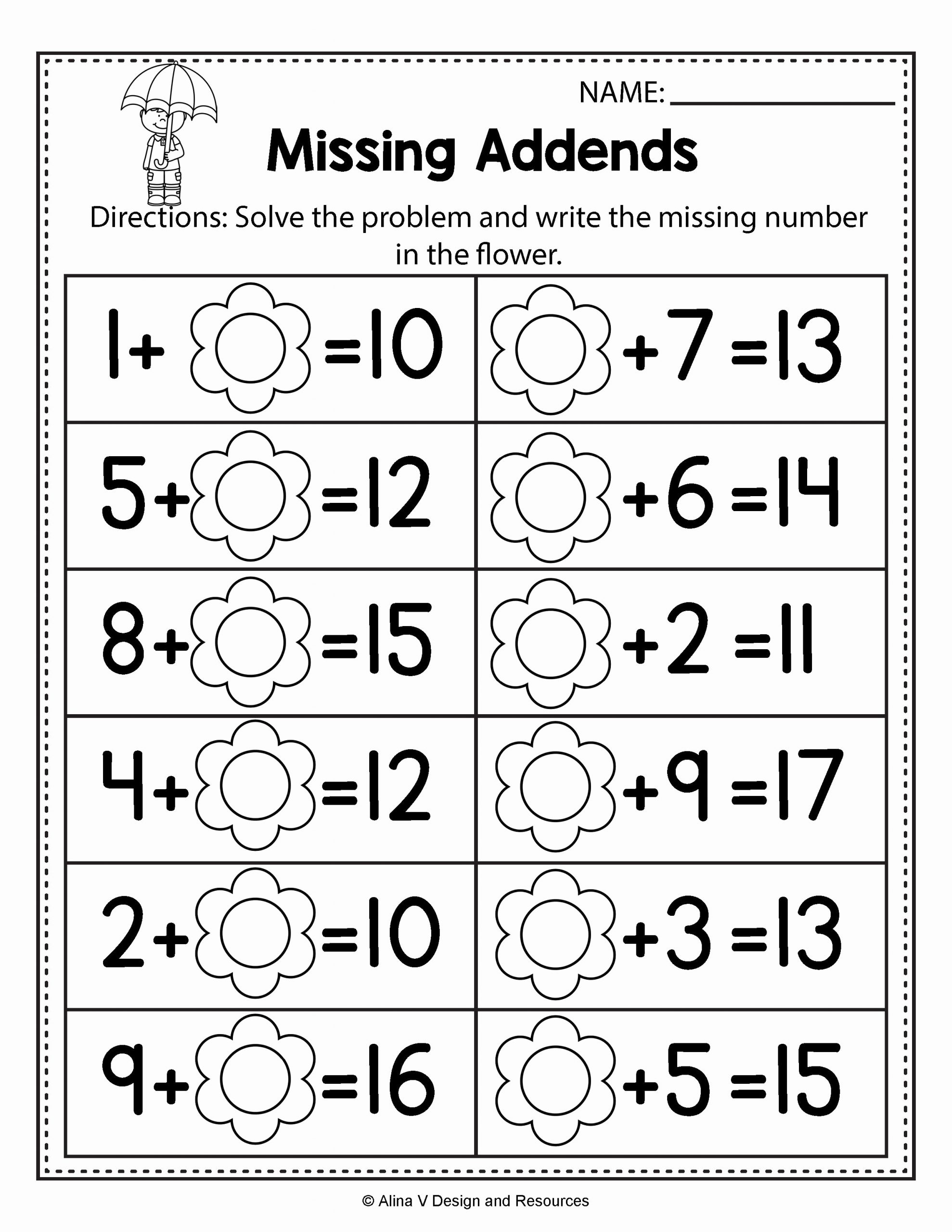 Missing Addend Worksheets Kindergarten Lovely Free Missing Addend Worksheets 1st Grade Free