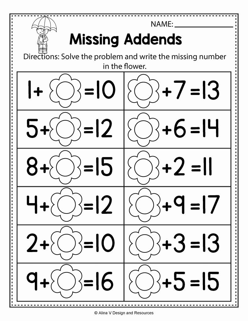 Missing Addend Worksheets Kindergarten Lovely Missing Addend Worksheets to Print Missing Addend