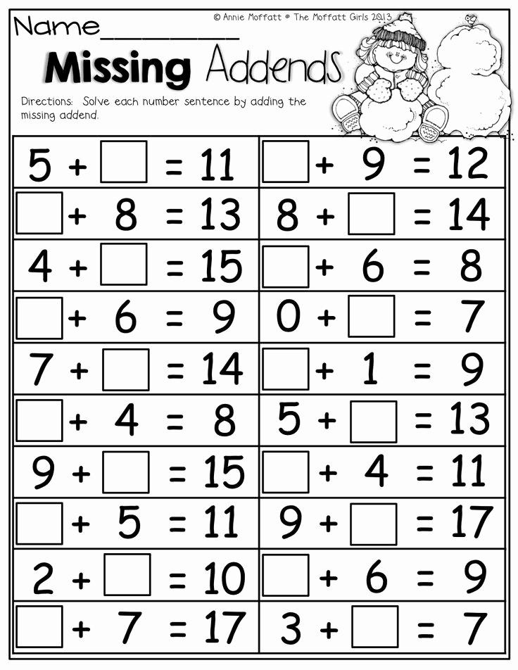 Missing Addend Worksheets Kindergarten Luxury 15 Best Of Missing Addends Worksheets Grade 1 Math