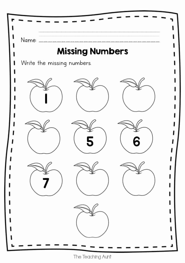 Missing Number Worksheets 1 10 Best Of Free Missing Numbers Worksheets the Teaching Aunt