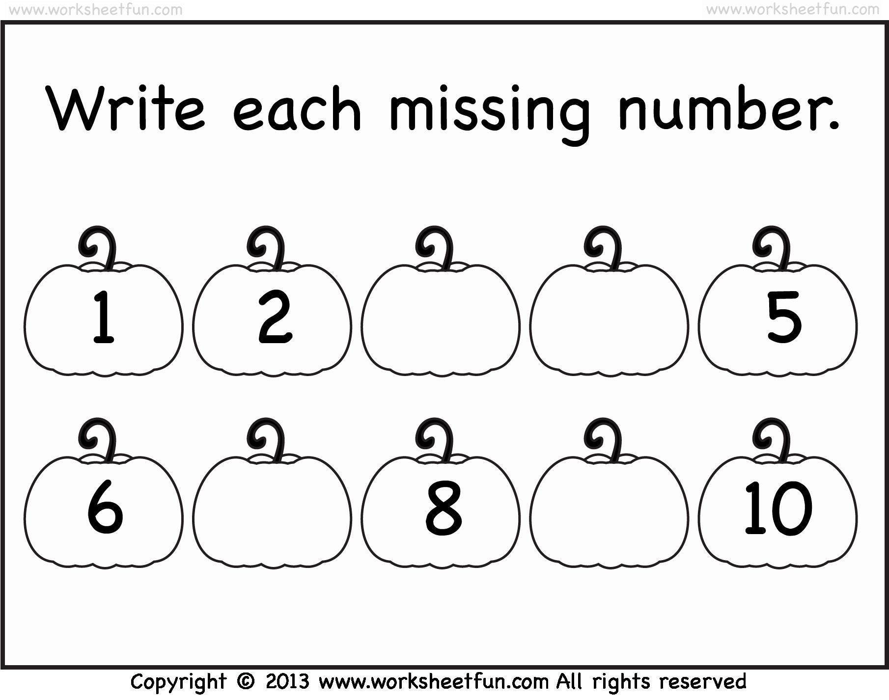 Missing Number Worksheets 1 10 Best Of Missing Number Worksheet New 273 Write the Missing Number