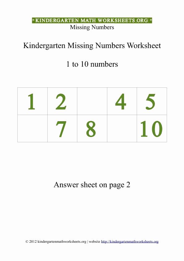 Missing Number Worksheets 1 10 Inspirational Kindergarten 1 to 10 Missing Numbers Worksheet