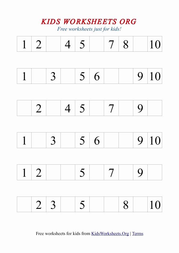 Missing Number Worksheets 1 10 Lovely 1 10 Missing Number Worksheet