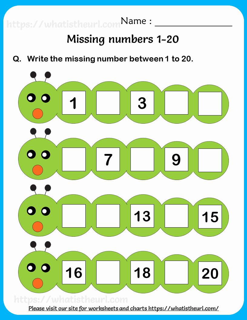 Missing Number Worksheets 1 20 Inspirational Find the Missing Number 1 20 3 Your Home Teacher