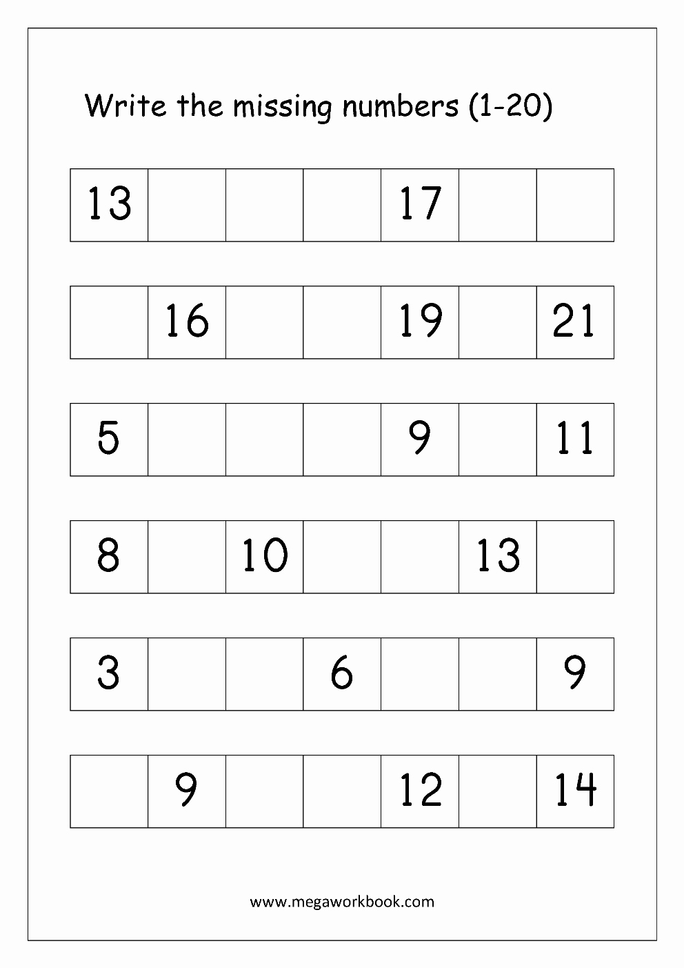 Missing Number Worksheets 1 20 Inspirational Identifying Numbers 1 20 Worksheets