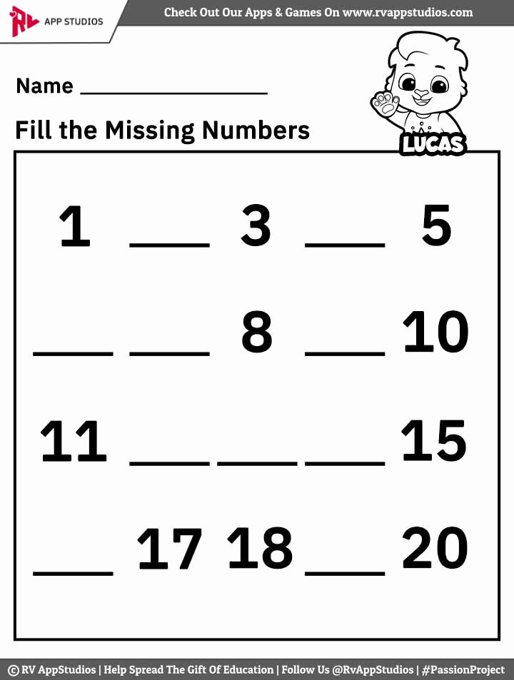 Missing Number Worksheets 1 20 Lovely Free Printable Worksheets for Kids Missing Number