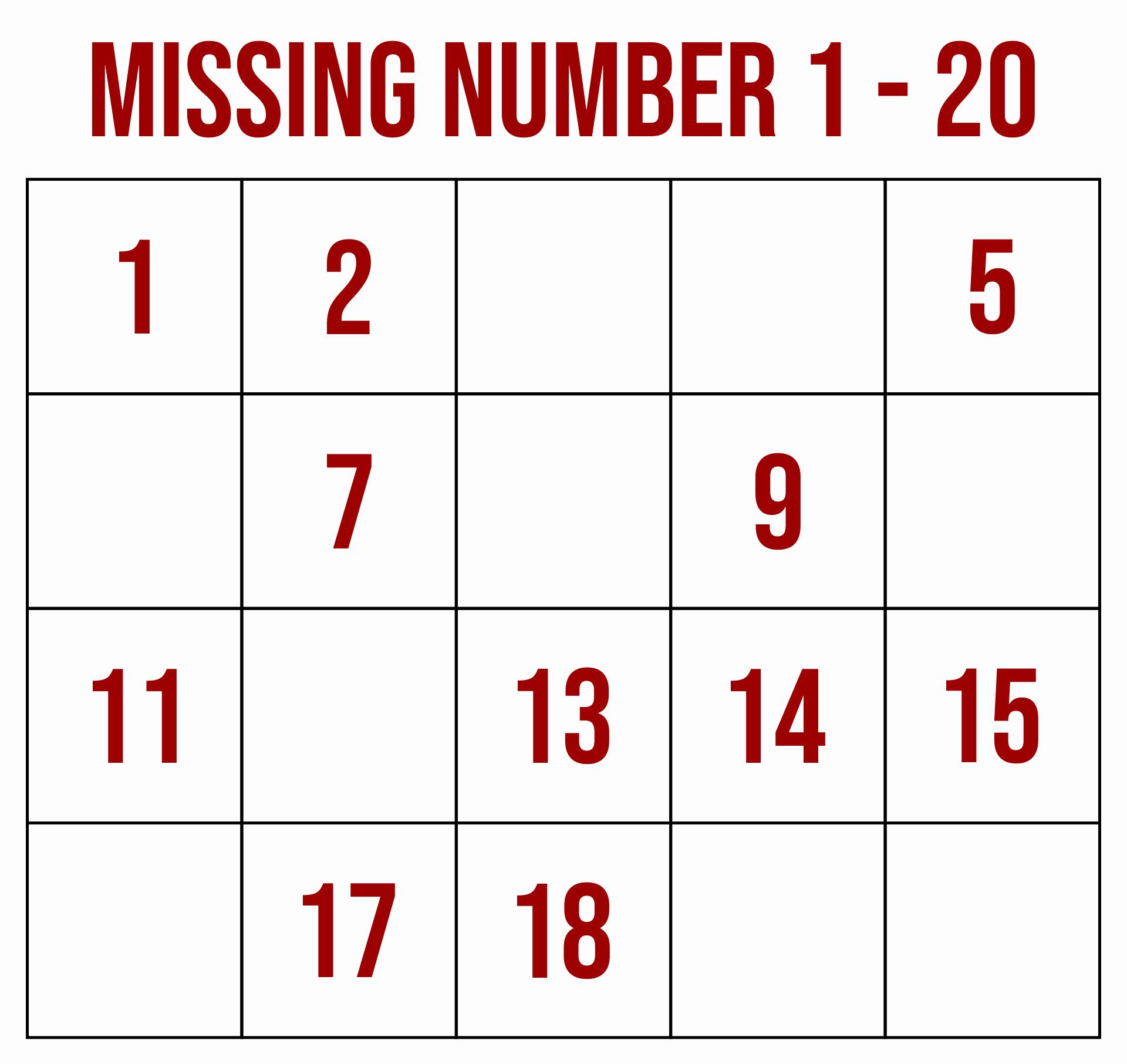Missing Number Worksheets 1 20 New 8 Best 1 20 Worksheets Printable Printablee