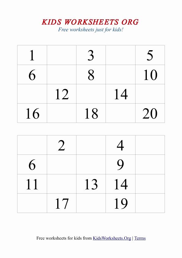 Missing Number Worksheets 1 20 Unique 1 20 Missing Number Worksheet