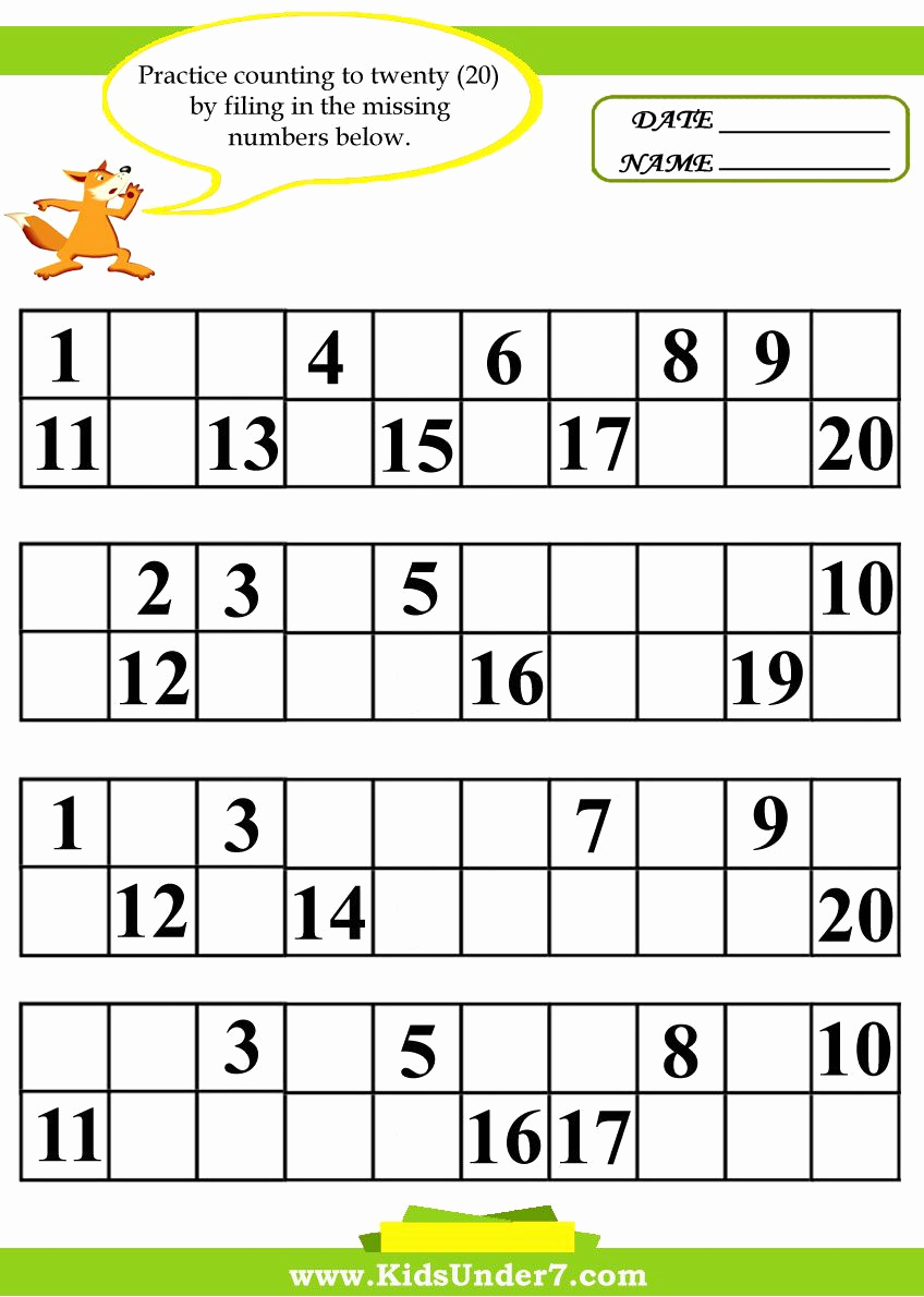 Missing Number Worksheets 1 20 Unique Missing Numbers Worksheets 1 20