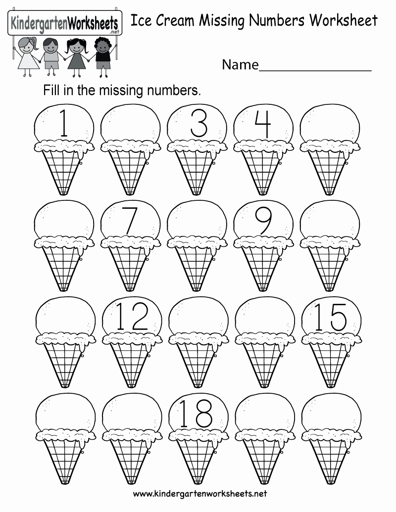 Missing Number Worksheets Kindergarten Beautiful Ice Cream Missing Numbers 1 20 Worksheet for Kindergarten