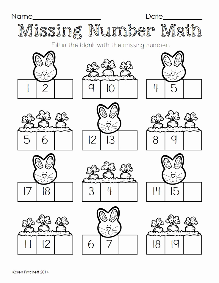 Missing Number Worksheets Kindergarten Fresh Easter Math Graphing Missing Number Counting On & Ten