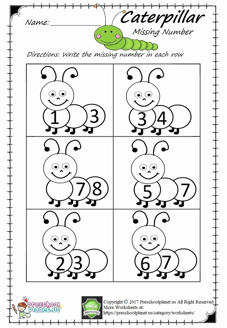Missing Number Worksheets Kindergarten Fresh Missing Number Worksheet Pdf Easy and Printable